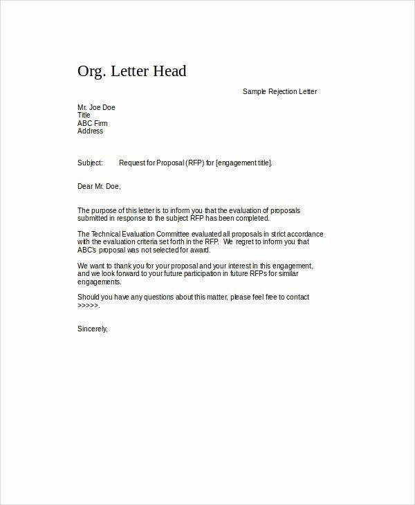 Request For Proposal Rejection Letter Fresh Sample Proposal Rejection Letter 6 Examples In Word Pdf Letter Templates Proposal Letter Lettering