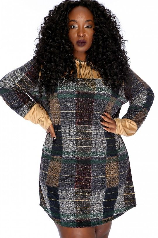 Sexy Camel Black Pattern Print Long Sleeves Casual Plus Size Dress
