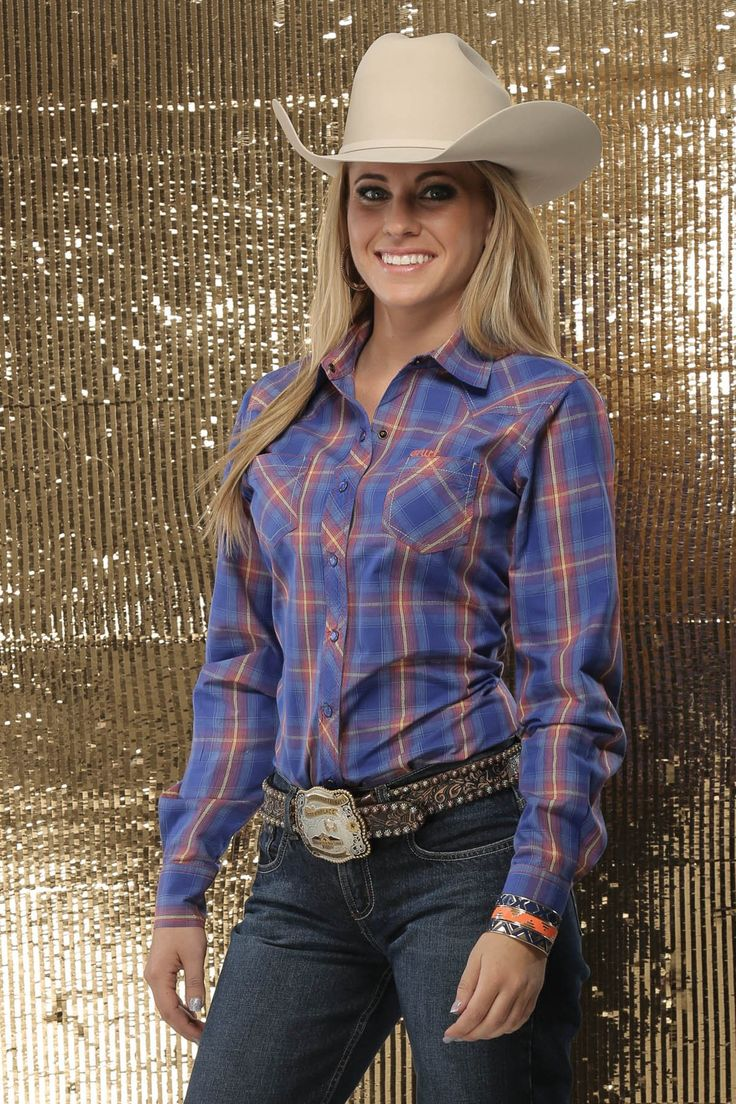 Navy Plaid Women's Ladie's Long Sleeve Snap Western Cowgirl Shirt - Cruel Girl