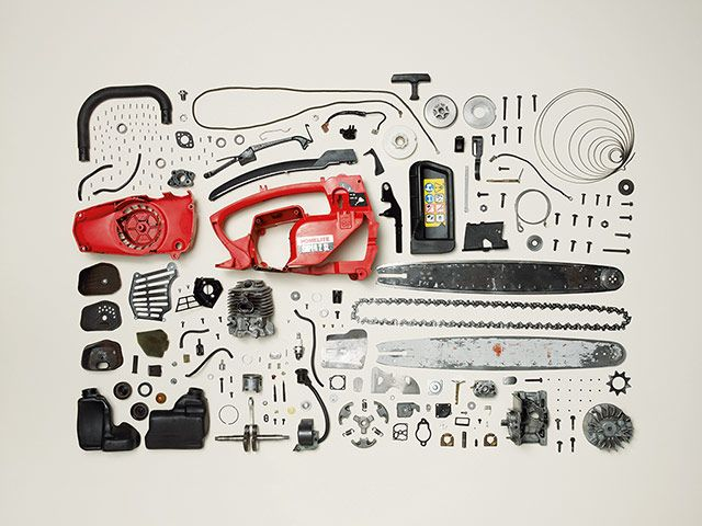 Credit: Todd McLellan/Thames & Hudson Disassembled Homelite chainsaw from the 90s. Number of parts: 268