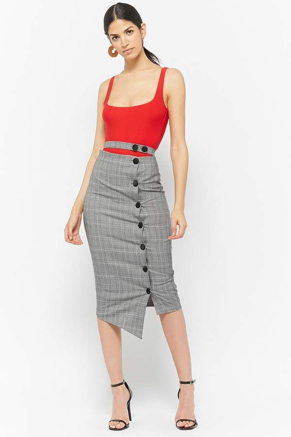 022ab18ec Forever 21 Button-Front Glen Plaid Skirt | HomenStyle in 2019 ...