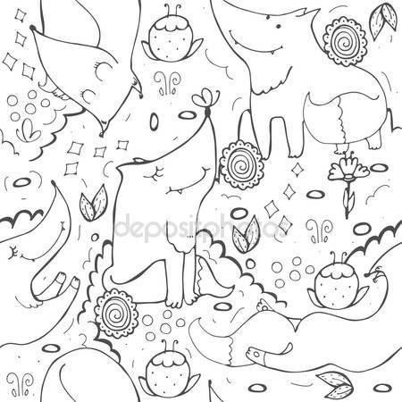 Скачать - Бесшовные вектор с милой лисы и цветы на белом фоне.  Нарисованные от руки черно-белые иллюстрации украшают каракули цветы и бабочки.  Вид детской текстуры - Stočková иллюстрация # 122087180