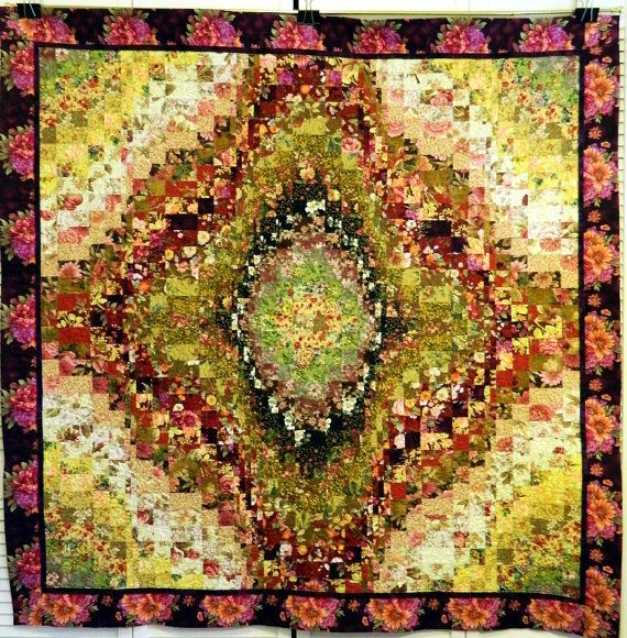 Handcrafted Bargello Floral Quilt for Bed or by Quiltsbysuewaldrep, $200.00