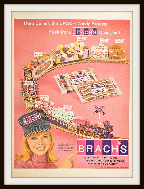 Fun, pretty pink. Here comes the Brach Candy Express fresh from Brach's Candyland. 1966 Brach's Candy Advertisement. Vintage candy ad. Vintage Brach's ad. Brach Candy Express.