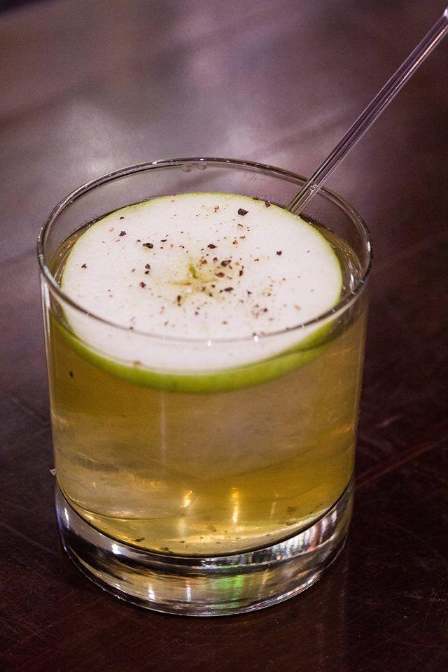 The Downtown Core with Lot No. 40 whisky, St-Germain elderflower liqueur, fresh apple juice, fresh lemon juice, pepper, Angostura bitters. — at Jump. #Toronto #restaurant #cocktails #food