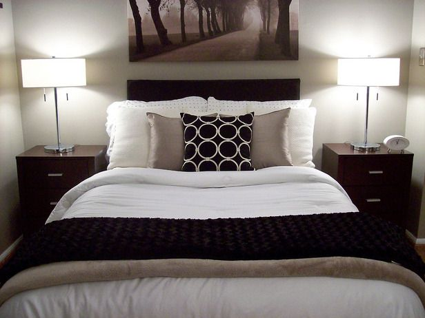 Our Favorite Bedrooms From Rate My Space: Match furnishings or accessories on either side of the bed for a balanced space. To avoid a boring bedroom, add different textures and fabrics throughout. Posted by Rate My Space contributor lilpolarbear. From DIYnetwork.com