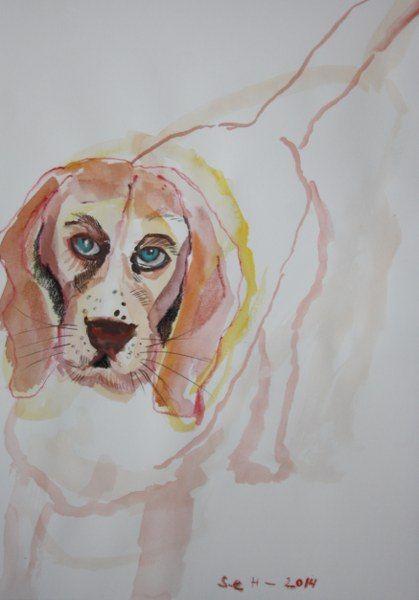 Beagle Paula - Version 2 - 30 x 40 cm - Aquarell und Pastell auf Hahnemühle Papier (c) Zeichnung von Susanne Haun
