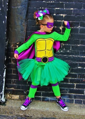 Ninja Turtle Costume: **SET INCLUDES LEGGINGS, SHIRT, CAPE, TUTU AND MASK We can have this costume to you before Halloween. Send me an email at info@hipkidsboutique.com and we can work out a shipping