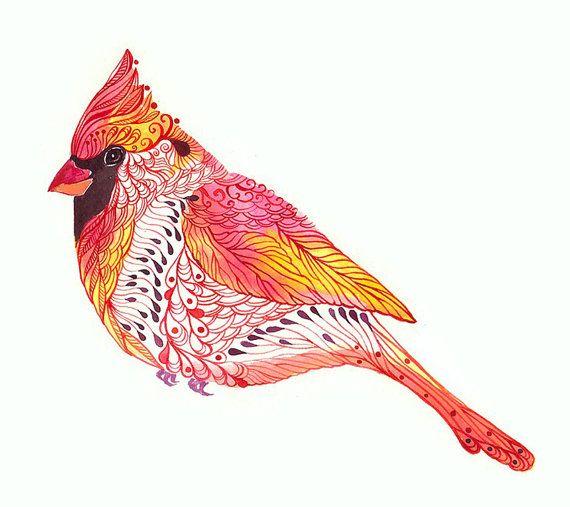 Cardinal bird // SALE 3 for 2 // Jewel Cardinal art print, size 10x8 (No. 2)