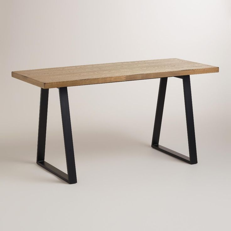 Natural Wood And Blackened Metal Colton Mix U0026 Match Desk