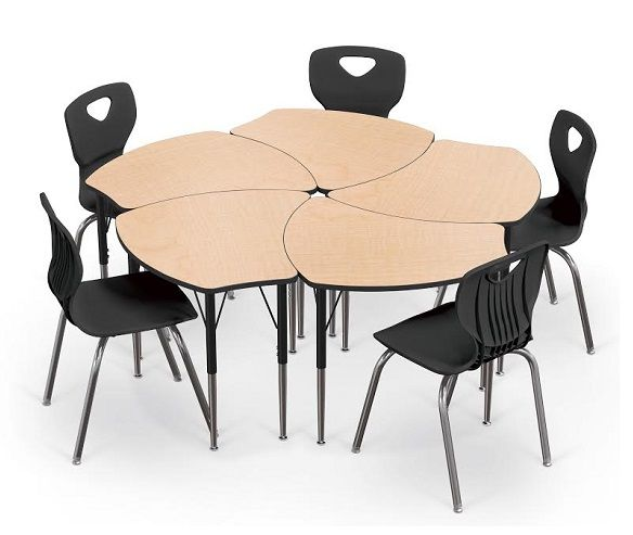 Collaborative classroom desk and chair packaged sets with Shapes Desk and Essential Stack Chairs.