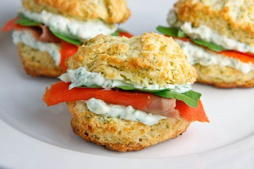 dill biscuits with smoked salmon, watercress, and a creamy dill spread