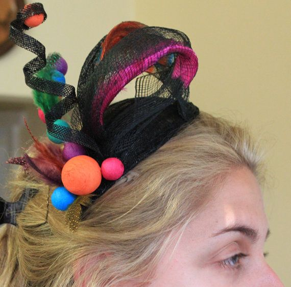 Modern multi coloured fascinator