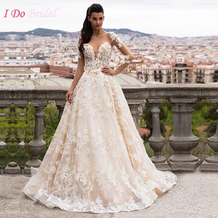 African Wedding Gowns Lace Long Sleeve Turkey Gelinlik Sexy Backless Champagne Bride Dresses Flowers Abiti da sposa Z882