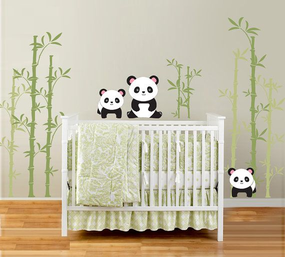 Pandas and Bamboo Forest Vinyl Wall Decal for by InAnInstantArt, $75.00