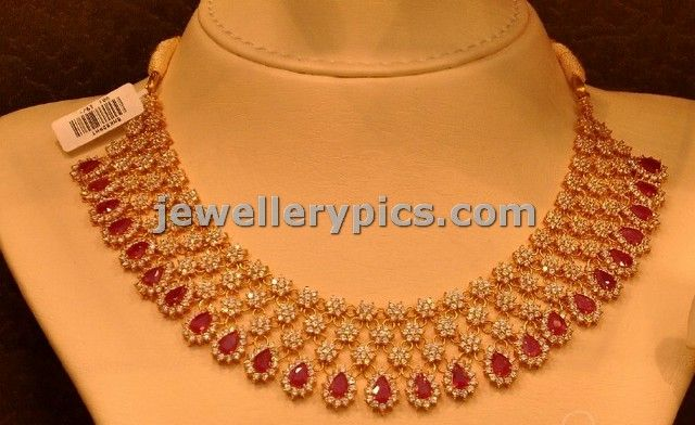 Ruby Diamond necklace designs by Malabar gold - Latest Jewellery Designs