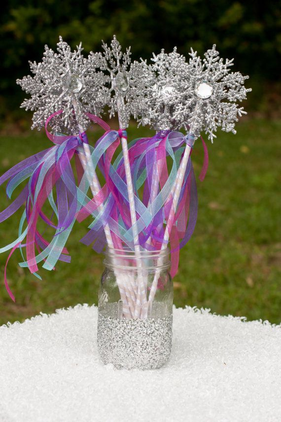 Frozen Birthday Party Snowflake Wands Party Favor Centerpiece Table Decoration Set of 10 on Etsy, $24.50