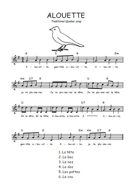 Alouette~song we sang in preschool in Louvain, Belgium