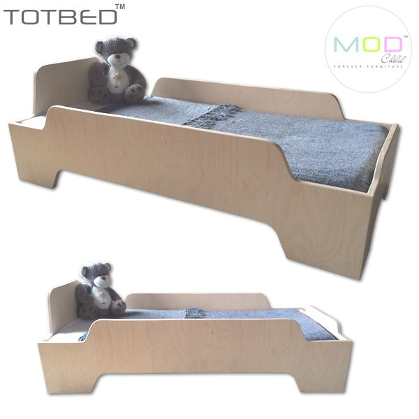 "TOT BED is a modern take on the standard toddler bed, with it's edgy lines and natural finish it will fit into any little one's room with ease. Side, head and foot rails are solid, ensuring there are no ""Fell out of bed"" moments during their first few nights as little people."