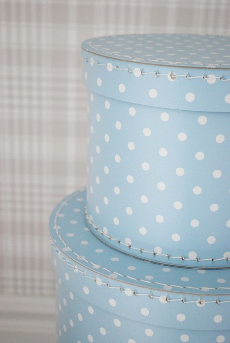 Round blue polka dot boxes. So cute! #matildajaneclothing#MJCdreamcloset