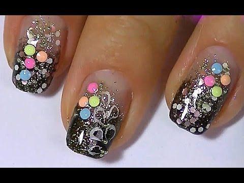 Дизайн ногтей. Яркий маникюр. Рисунки на ногтях. - YouTube