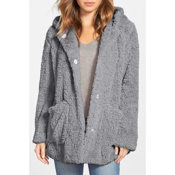 Kenneth Cole New York 'Teddy Bear' Faux Fur Hooded Coat (64 CAD) ❤ liked on Polyvore featuring outerwear, coats, fake fur lined coats, oversized faux fur coat, faux fur lined coat, faux fur coat and hooded coat
