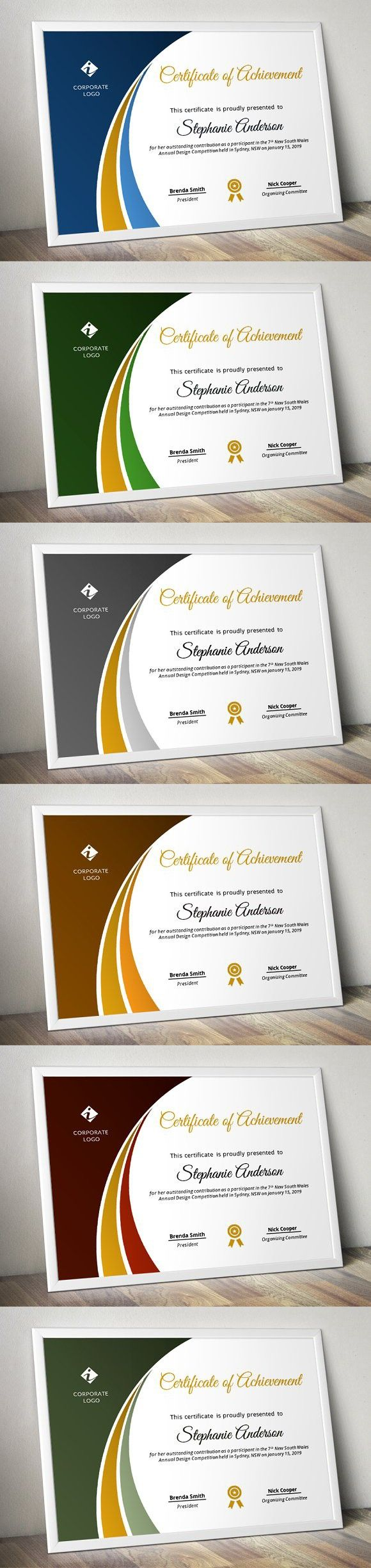 Modern Certificate Template (pptx). Stationery Templates