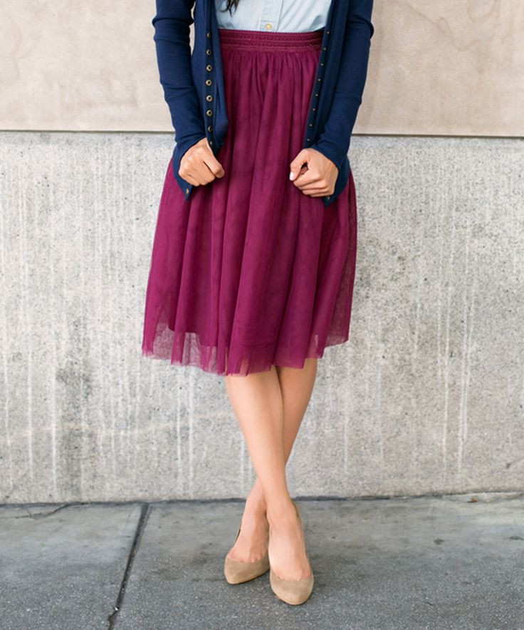 Another great find on #zulily! White Plum Burgundy Smocked-Waist A-Line Skirt by White Plum #zulilyfinds
