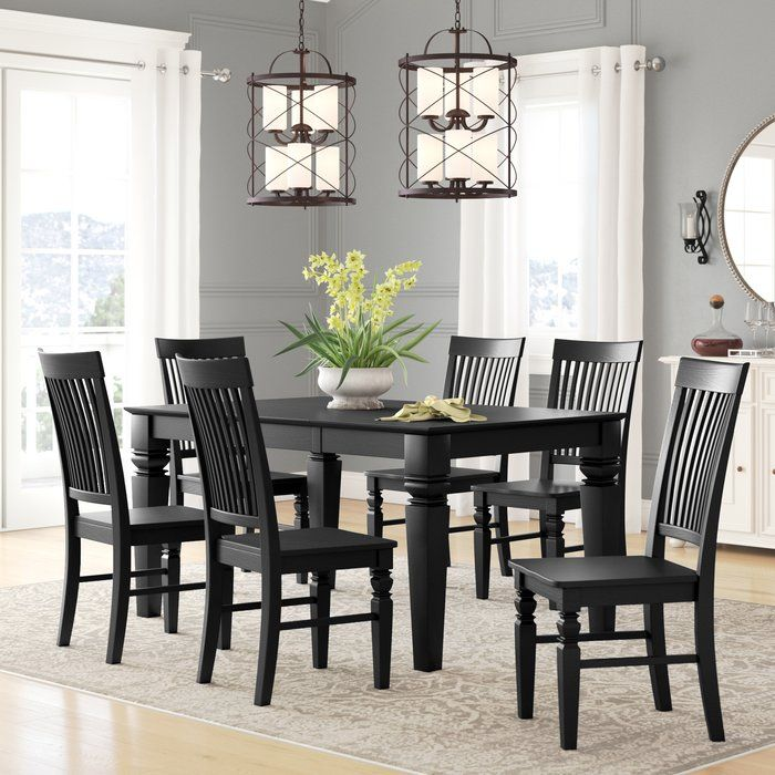 Beesley 7 Piece Dining Set Dining Room Sets Solid Wood Dining Set Black Dining Room Sets