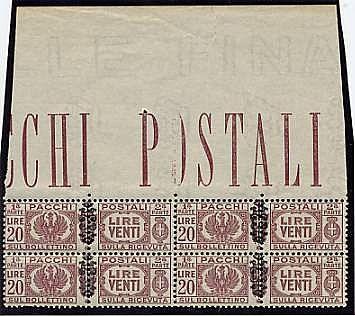 Pacchi p. sopr. 12 val. in quartine bordo o angolo di foglio (S.2105). Dente corto in un 20 l. - Freschissime.