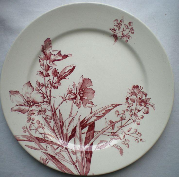 Superbe Assiette ART Nouveau Terre DE FER B F K Modèle Pétunia EN Rouge Grenat | eBay