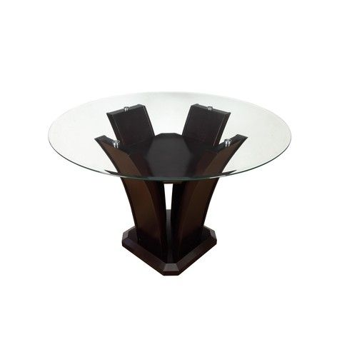 Poundex Espresso Tulip Glass Top Dining Room Table F2292