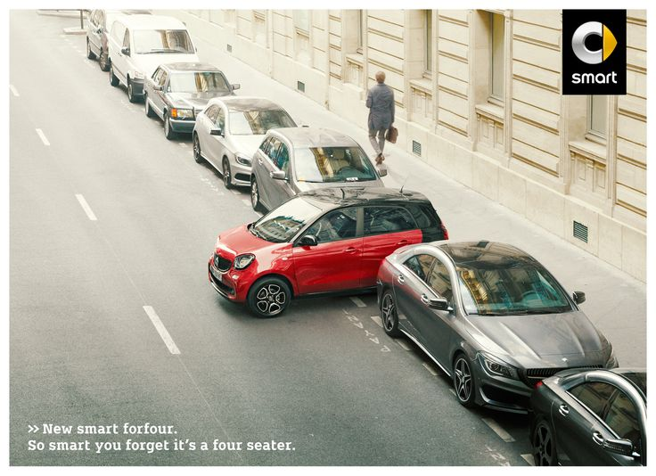 'The mistake' is the title of this print ad for the new smart fourfour, a car so smart it obviously makes owners forget it's a four-seater.