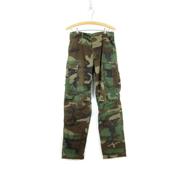 US Army Pants Vintage United States Military Cargo Trousers Camo Green... ❤ liked on Polyvore featuring pants, camouflage cargo pants, army green pants, camo cargo pants, olive cargo pants and drawstring pants