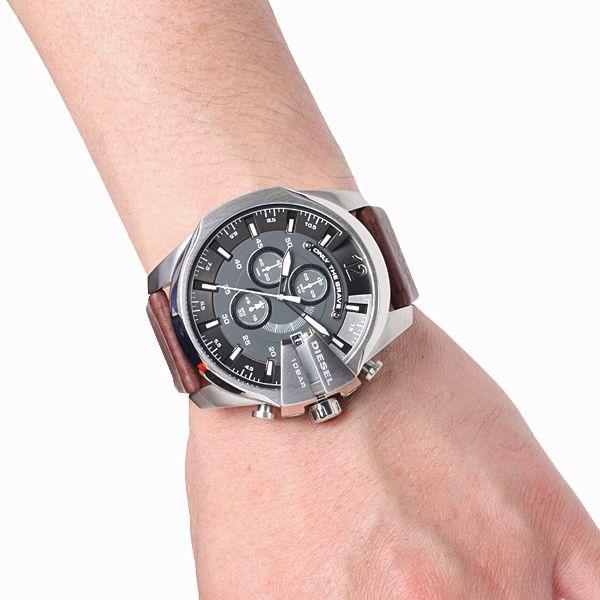 Diesel mens black dial leather analog Chronograph quartz watches DZ4290 #Diesel #Watches #wristwatch