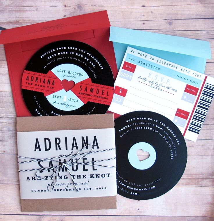 Music Lovers Retro Wedding Invitation With Black Cd With ...