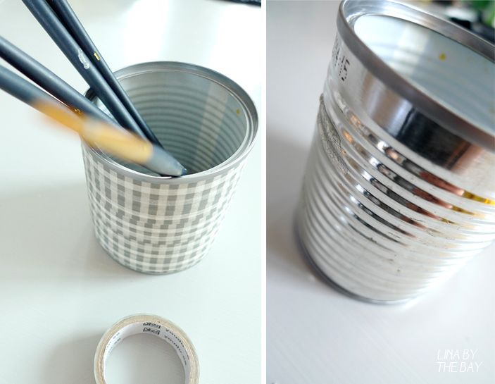 Washitejp around the corn tins became new pen holders.