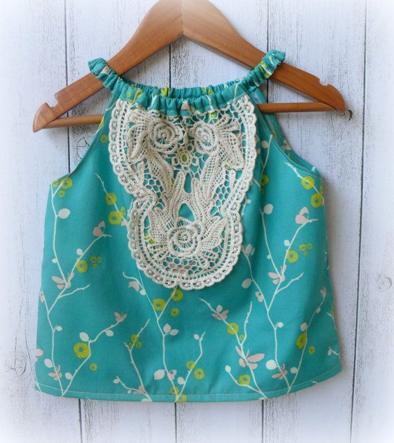 Girls summer Top with crotchet Lace detail by LittleMacsClothing, $28.00