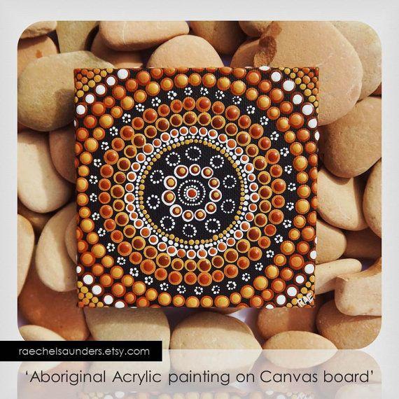 "Australian Aboriginal Art, Dot Art, Acrylic paint on Canvas Board Painting,Meeting Place, Earth colours, 4"" x 4"""