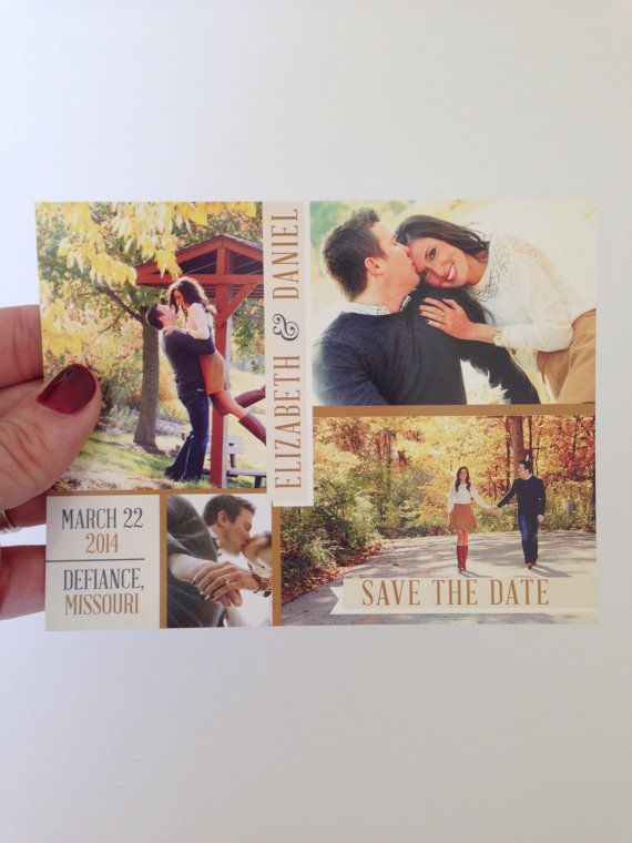 Multiple Photo Save the Date Postcard | Printable Save the Date | Front & back