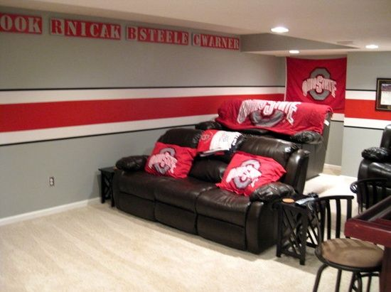 Ohio State room ideas for mancave.... except in MU colors for future basement.