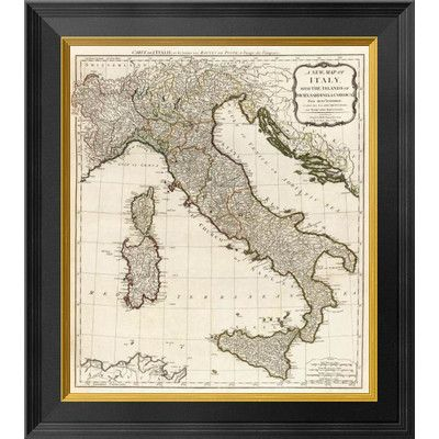 Global Gallery A New Map of Italy with the Islands of Sicily, Sardinia & Corsica, 1790 by Thomas Kitchin Framed Graphic Art on Canvas Size: