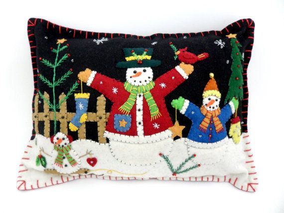Christmas Holiday Felt Appliqued Snowmen by LittleHandcrafts, $39.00