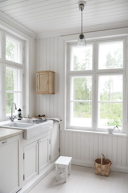 traditional scandinavian country kitchen, white wooden