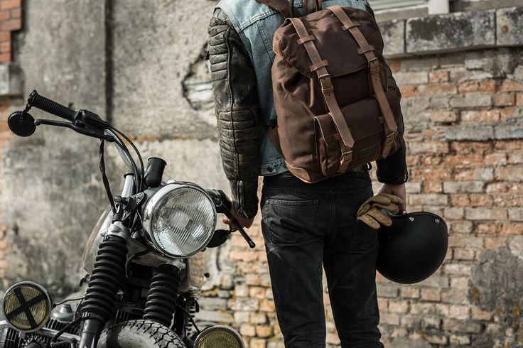 Waterproof Waxed Cotton Motorcycle Backpack.