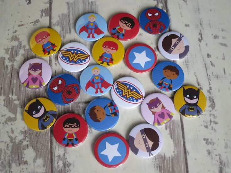 Comic book illustration badges. All of our badges are 25mm button badges. Hand m… – Button badges