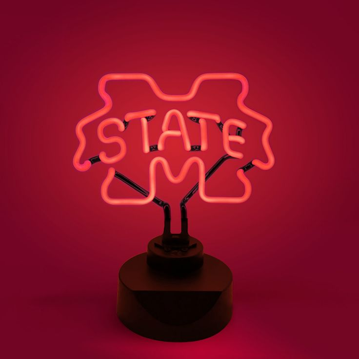 NCAA Mississippi State Bulldogs Table Top Neon Logo Light