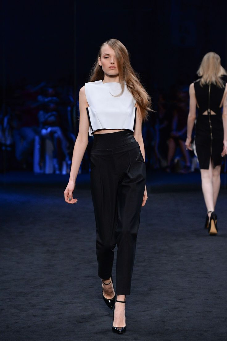 SUBOO. Bonded crop & Coded lace tuxedo pant