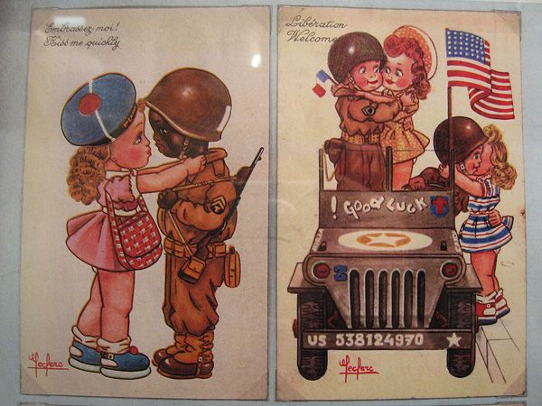 French postcards, c. 1945.  D-Day Museum, Omaha Beach