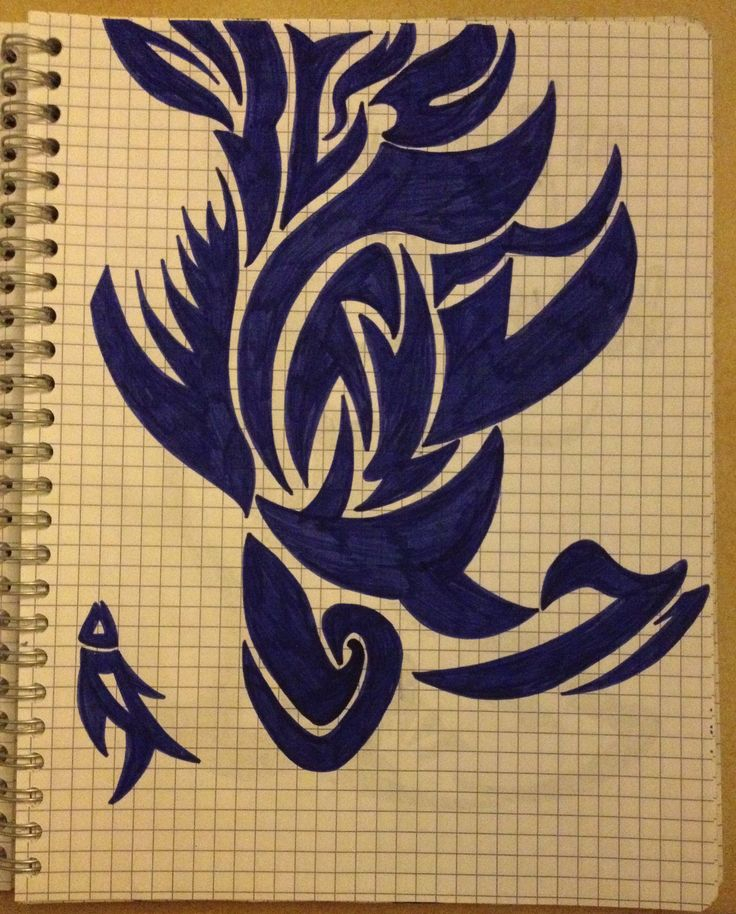 Tribal drawing ~ fish, whale -Coline210